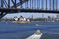 Stunning Sydney Harbour. On a bright sunny day showing the Harbour Bridge and the Opera House Royalty Free Stock Photos