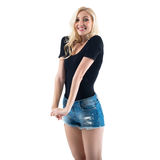 Stunning tall blond girl is amazingly happy and Stock Image