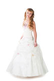 Stunning teen girl in gown dancing isolated royalty free stock photography
