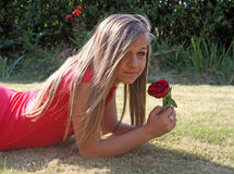 Stunning teenage girl in garden Royalty Free Stock Image