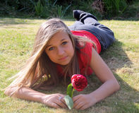 Stunning teenage girl in garden Stock Photos