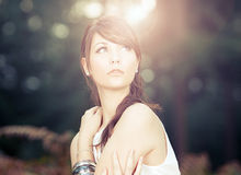 Stunning Teenage Model in Sunny Forest Royalty Free Stock Photos