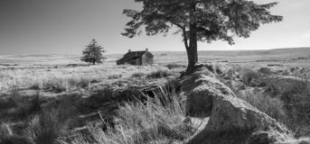 Stunning toned black and white landscape image of Nun`s Cross Fa. Beautiful black and white landscape image of Nun`s Cross Farm in Dartmoor royalty free stock image