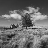 Stunning toned black and white landscape image of Nun`s Cross Fa. Beautiful black and white landscape image of Nun`s Cross Farm in Dartmoor royalty free stock images