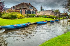 Beautiful old dutch village with traditional houses, Giethoorn, Netherlands, Europe royalty free stock image