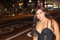 Stunning transgender woman outdoors with copy space stock images