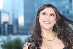 Stunning transgender woman smiling outdoors royalty free stock photo