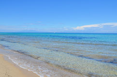 Stunning turquoise clear waters of the Mediterranean Sea in Gree Royalty Free Stock Photos