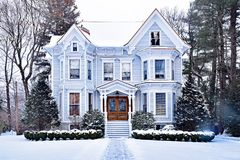 Stunning Victorian House Dusted in Snow stock photos