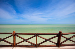 Stunning view. Stunning tropical sea view from wooden terrace Royalty Free Stock Photo
