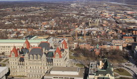 Stunning view of Albany's State Capitol Building seen from the 39th floor of the Corning Tower,New York,2016 Royalty Free Stock Photo