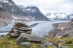 Stunning view of Aletsch glacier, the largest glacier in the European Alps, located in the Bernese Alps in Switzerland. Royalty Free Stock Photography