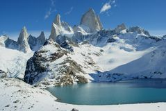 Stunning view of andean mountain lake Royalty Free Stock Images