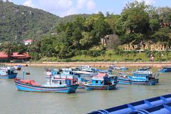 Beautiful view of the hill Nha Trang with fishing boats stock image