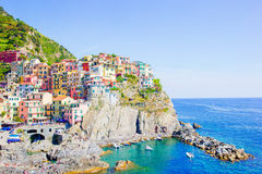 Stunning view of the beautiful and cozy village of Manarola in the Cinque Terre Reserve. Liguria region of Italy. Royalty Free Stock Photography
