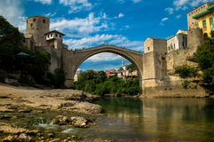 Stunning view of the beautiful Old Bridge in Mostar, Bosnia and Herzegovina Stock Image