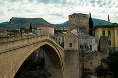 Stunning view of the beautiful Old Bridge in Mostar, Bosnia and Herzegovina Royalty Free Stock Images