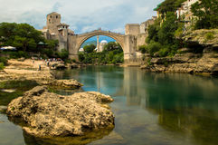 Stunning view of the beautiful Old Bridge in Mostar, Bosnia and Herzegovina Stock Images