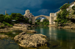 Stunning view of the beautiful Old Bridge in Mostar, Bosnia and Herzegovina Royalty Free Stock Image