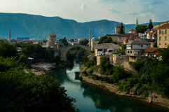 Stunning view of the beautiful Old Bridge in Mostar, Bosnia and Herzegovina Royalty Free Stock Photos