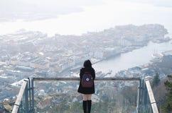 Stunning view. Of Bergen town from Mt. Floyen stock photos