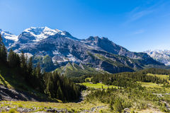 Stunning view of Bluemlisalp and Frundenhorn above Oeschinensee Stock Photos