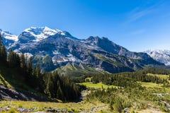 Stunning view of Bluemlisalp and Frundenhorn above Oeschinensee Stock Photos