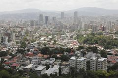 Stunning view of Caracas capital city downtown with main business buildings from majestic El Avila mountain. In Venezuela royalty free stock images