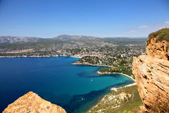 The stunning view of Cassis from Cap Ferrat in the French Riviera Stock Images
