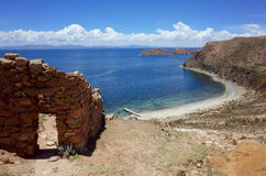Stunning view of the Chincana Ruins overlooking the beach on the Isla del Sol on Lake Titicaca Stock Images