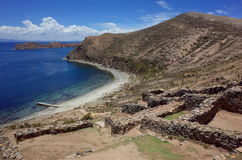 Stunning view of the Chincana Ruins overlooking the beach on the Isla del Sol on Lake Titicaca Stock Image