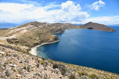 Stunning view of the Chincana Ruins overlooking the beach on the Isla del Sol on Lake Titicaca Stock Photography