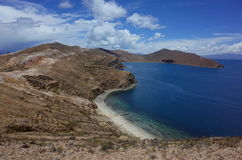 Stunning view of the Chincana Ruins overlooking the beach on the Isla del Sol on Lake Titicaca Royalty Free Stock Photography