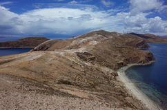 Stunning view of the Chincana Ruins overlooking the beach on the Isla del Sol on Lake Titicaca Stock Photo