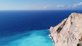 View of stunning Shipwreck Cove. Stunning view of the cliffs in Shipwreck Cove in summer on Zante Island, Greece stock video footage