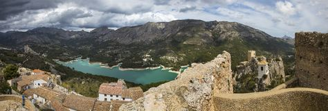View from El Castell de Guadalest in Spain stock image