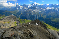 Stunning view of the famous peaks: Eiger, Monch and Jungfrau of Royalty Free Stock Photo