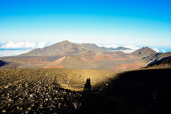 Stunning view of Haleakala Crater with the shadow of a couple - Maui, Hawaii Royalty Free Stock Photography