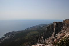 Stunning view from the height of the Ai-Petri mountain in Crimea, Russia. Stunning view from the height of the Ai-Petri mountain in Crimea Stock Image