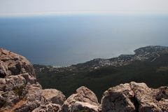 Stunning view from the height of the Ai-Petri mountain in Crimea, Russia. Stunning view from the height of the Ai-Petri mountain in Crimea royalty free stock image