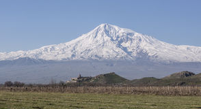 Stunning view on Hor Virap Monastery with Ararat Mount in background. Armenia. Stock Image