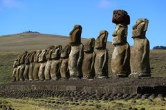 Stunning view of 15 huge Moai statues of Ahu Tongariki with Poike volcano in the background, Easter Island. Chile, South America stock photos