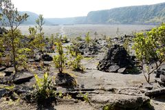 Stunning view of the Kilauea Iki volcano crater surface with crumbling lava rock in Volcanoes National Park in Big Island of Hawai. I, USA Royalty Free Stock Photography