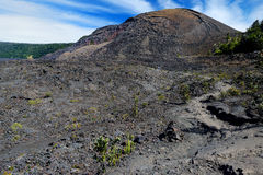 Stunning view of the Kilauea Iki volcano crater surface with crumbling lava rock in Volcanoes National Park in Big Island of Hawai Stock Photo