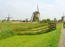 Stunning View of Kinderdijk Historic Dutch Windmills, UNESCO World Heritage Site in The Netherlands. Europe agriculture architecture attraction authentic stock images
