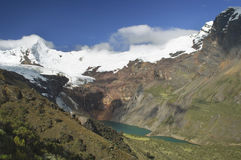 Stunning view of lake Tullpacocha with the glaciers of mount Tullparahu at Cordillera Blanca, Peru. Hiking over the Huapi pass of 5100 meters awarding me with royalty free stock photography