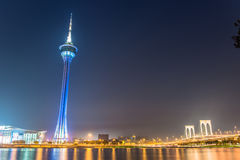 Stunning view of Macau at night Macau tower Stock Images