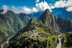 The stunning view of Machu Picchu royalty free stock photography
