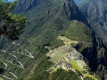 Stunning view of Machu Picchu and serpentine road, Peru royalty free stock photos