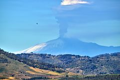 Stunning View from Mazzarino of the Mount Etna during the Eruption, Caltanissetta, Sicily, Italy, Europe royalty free stock images